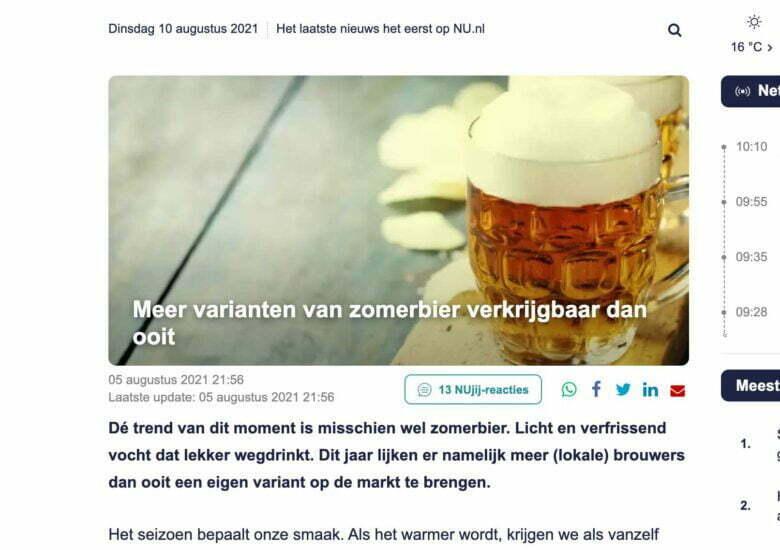 """Nu.nl: """"Meer varianten van zomerbier verkrijgbaar dan ooit"""""""